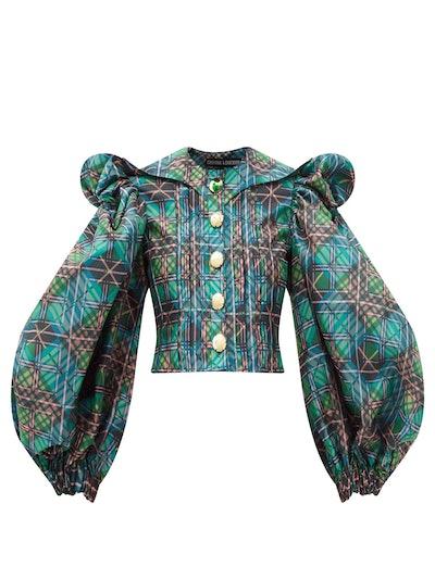 Puff-sleeve checked deadstock-taffeta blouse
