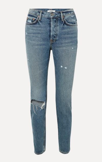 Karolina distressed high-rise slim-leg jeans