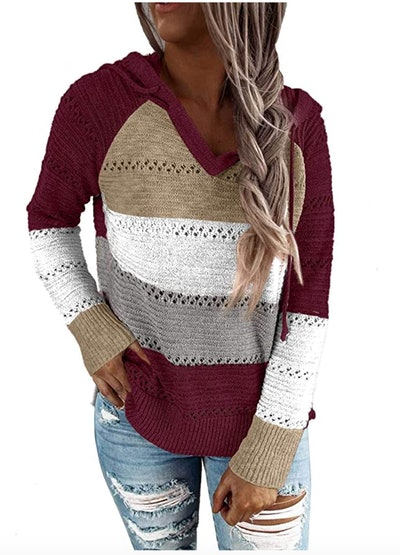 Biucly Knit Hooded Sweater