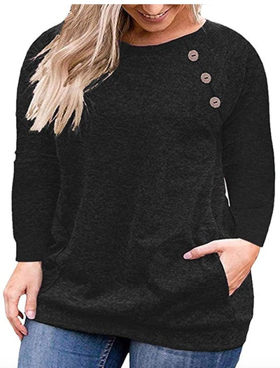 VISLILY Plus Size Shirt with Pockets