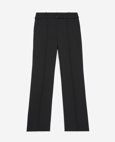 STRAIGHT-CUT BLACK SUIT TROUSERS WITH BELT