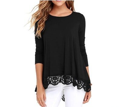 QIXING Lace-Trimmed Blouse