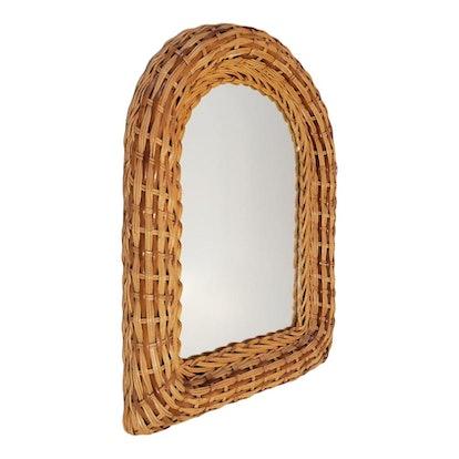 Natural Wicker Original 1970s Arch Wall Mirror