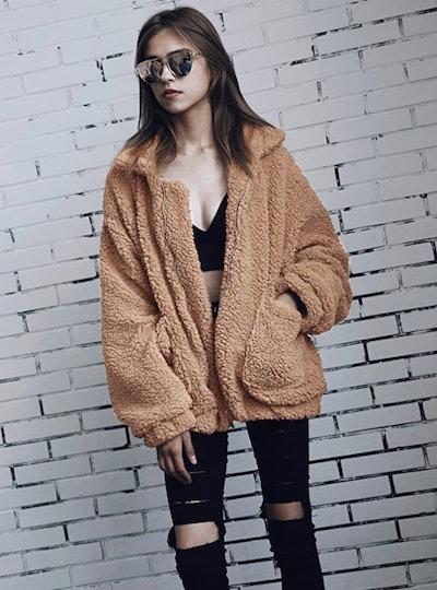 PRETTYGARDEN Shaggy Oversized Coat