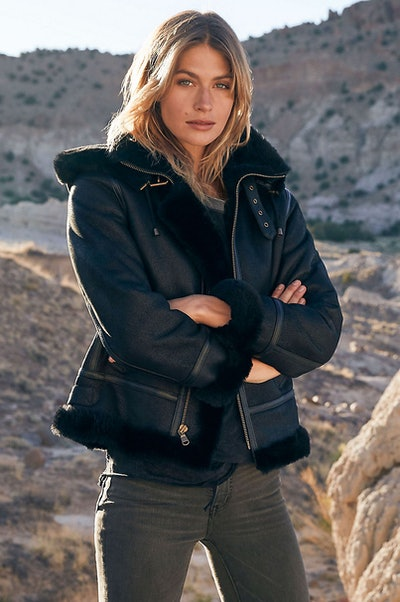 Jane Sheepskin B-3 Bomber Jacket with Detachable Hood