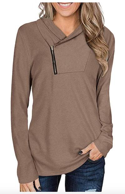 Cyanstyle Cowl Neck Sweatshirt