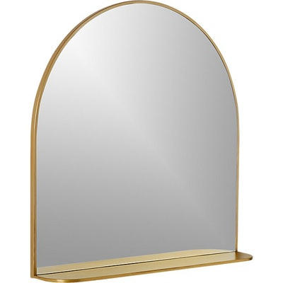 Brass Arched Mirror With Shelf
