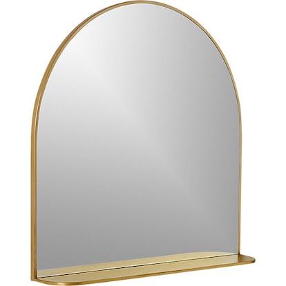 Brass Arched Mirror With Shelf