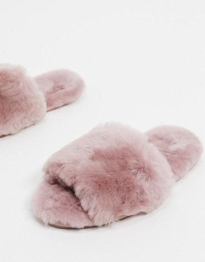 Nola premium sheepskin slippers in mauve