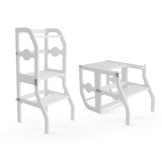 White kitchen stand for toddler.