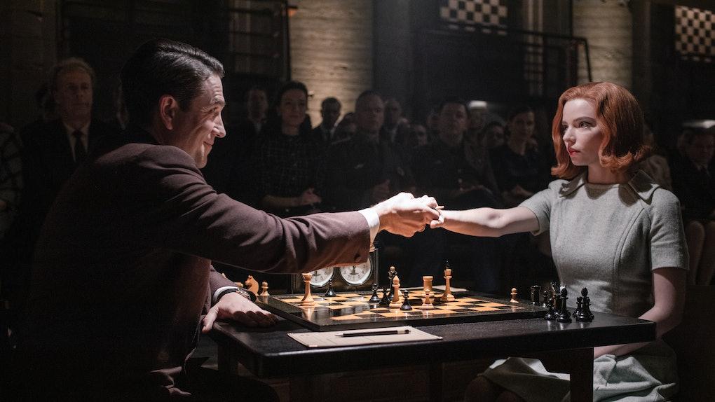 MARCIN DOROCINSKI as VASILY BORGOV and ANYA TAYLOR-JOY as BETH HARMON in The Queen's Gambit