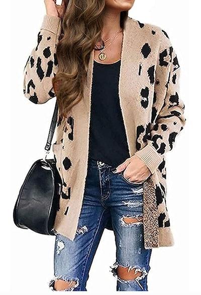 MEROKEETY Leopard Print Knit Cardigan