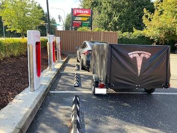 Tesla trailer in action.