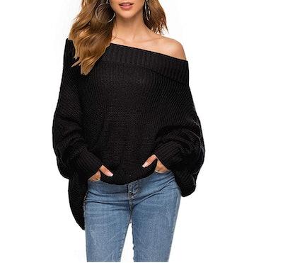 GOLDSTITCH Off-the-Shoulder Batwing Sweater