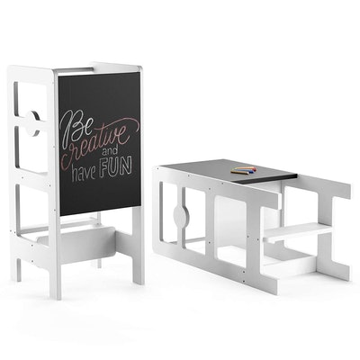 ComfyBumpy Kitchen Step Stool & Chalkboard Desk for Toddlers