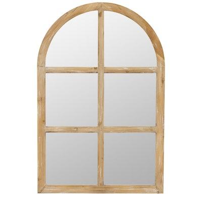 Matherne Farmhouse Arch Wood Window Decor Mirror
