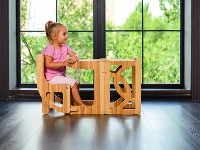 Natural Convertible learning tower & table