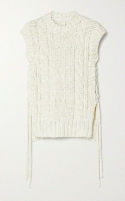 Lace-up cable-knit tank