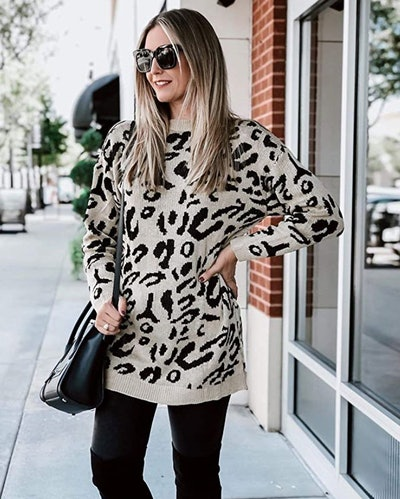 PRETTYGARDEN Casual Leopard Print Sweater