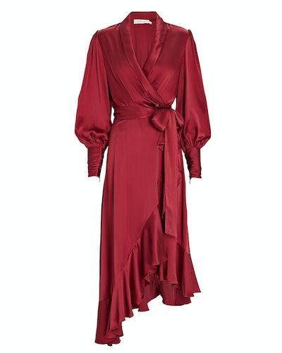 Silk Midi Wrap Dress