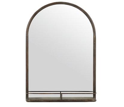 Stone & Beam Modern Round Arc Iron Hanging Wall Mirror With Shelf