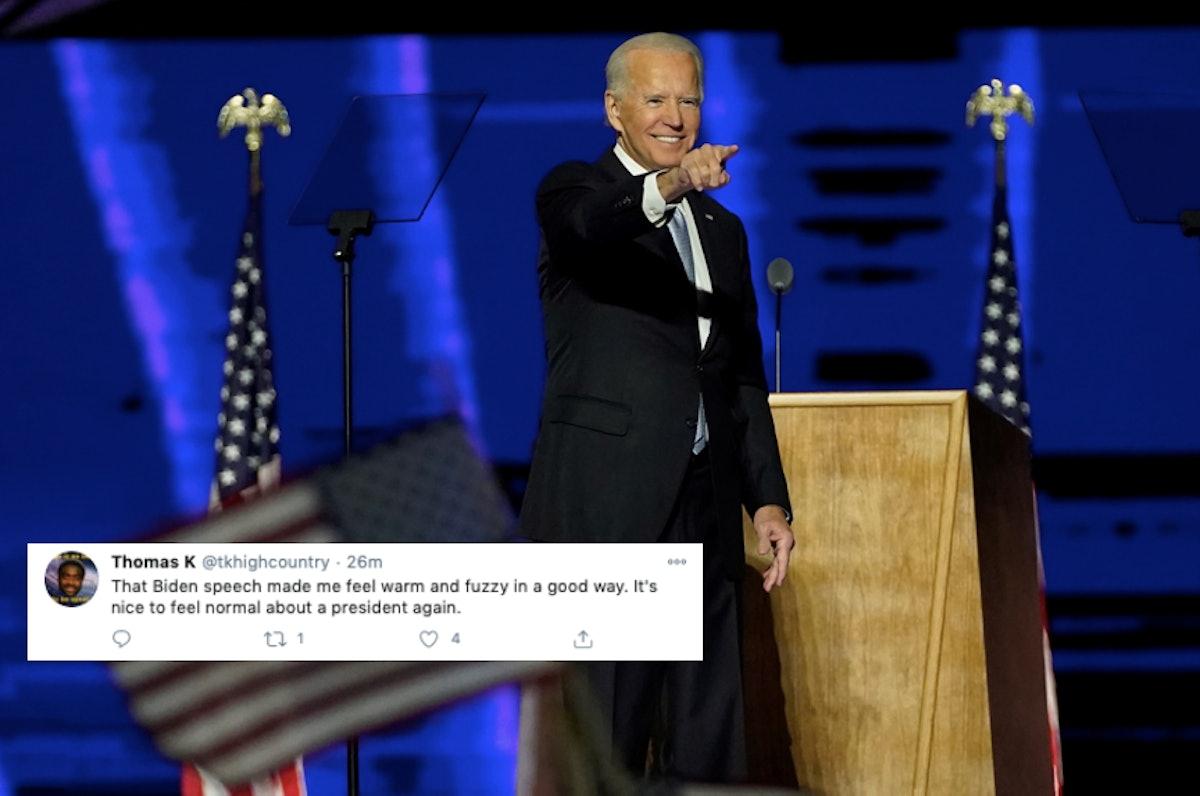 Tweet about Joe Biden's victory speech 2020 election