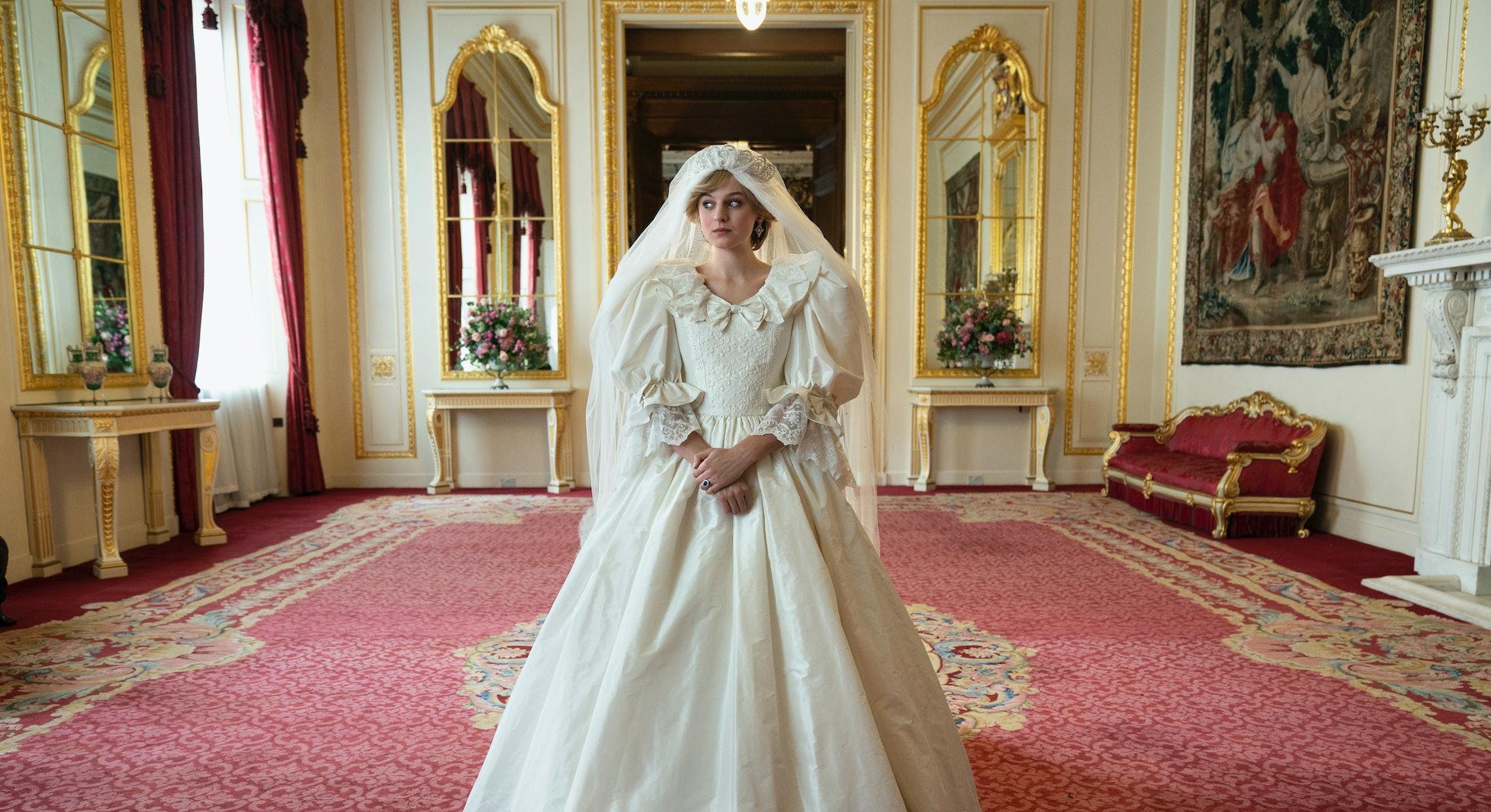 Emma Corrin as Princess Diana in 'The Crown' via the Netflix press site.