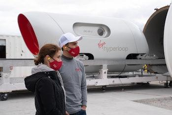 Josh Giegel and Sara Luchian outside XP-2.