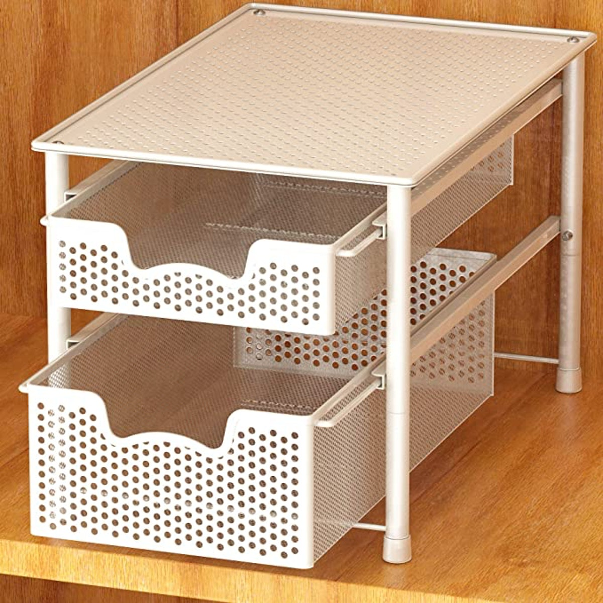 Simple Houseware Stackable 2-Tier Sliding Basket Organizer Drawer