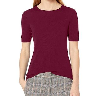Lark & Ro Merino Wool Short Sleeve Sweater