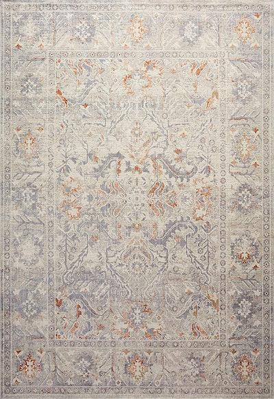 "Rosemarie ROE-05 Oatmeal / Lavender Oriental Area Rug 6'-3"" x 9'"