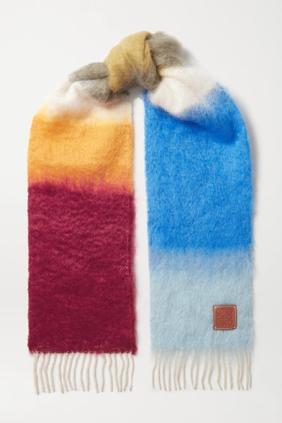 Leather-Trimmed Fringed Striped Mohair-Blend Scarf