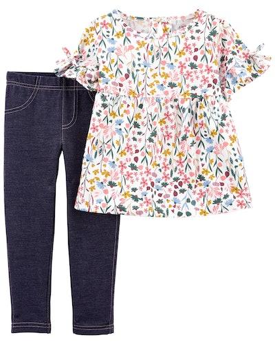 2-Piece Floral Top & Legging Set