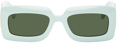 Green Thick Rectangular Injection Sunglasses