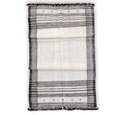 Cream/Off White Vintage Indian Wool Throw Blanket