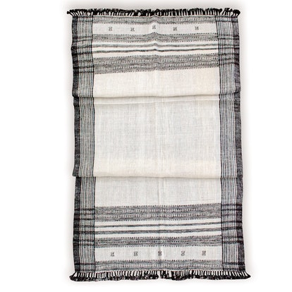 Cream/Off White Vintage Indian Wool Throw Blanket
