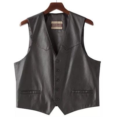 Button-Front Leather Vest