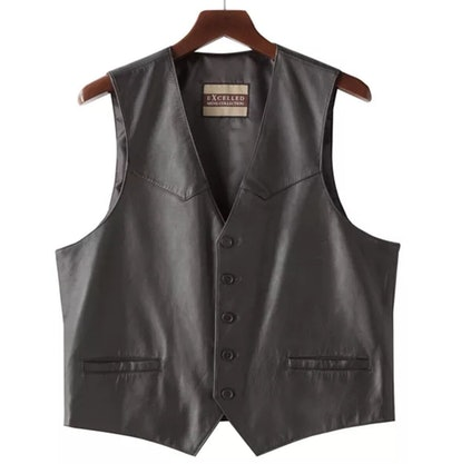 Button-Front Leather Vest