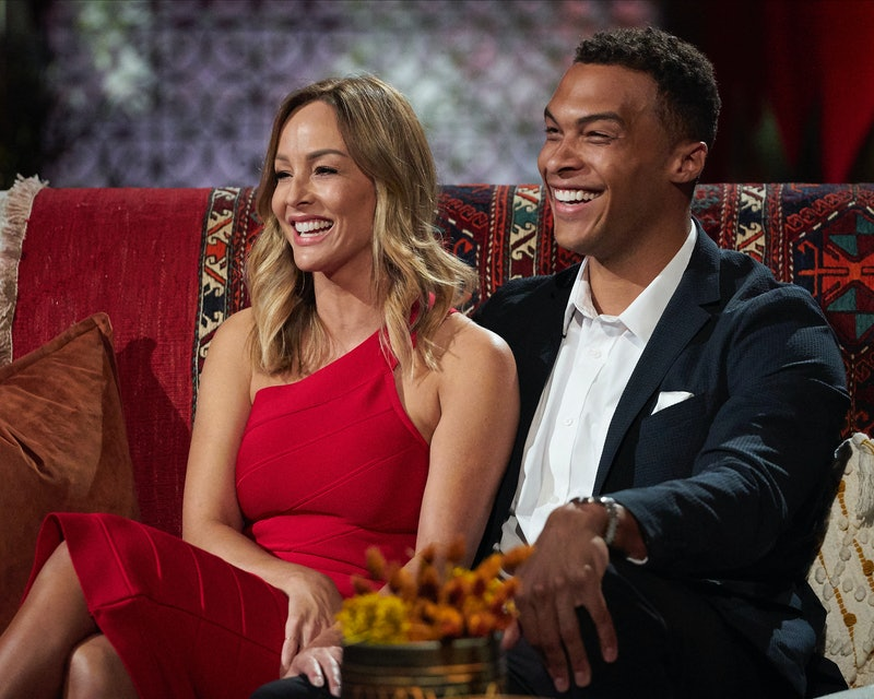 Clare Crawley and her fiancé Dale Moss speak to Chris Harrison after getting engaged on 'The Bachelorette.'
