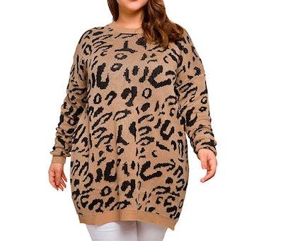 Allegrace Plus Size Leopard Print Sweater