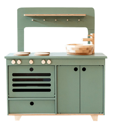 MidMini Handcrafted Wooden Play Kitchen With Pizza Oven