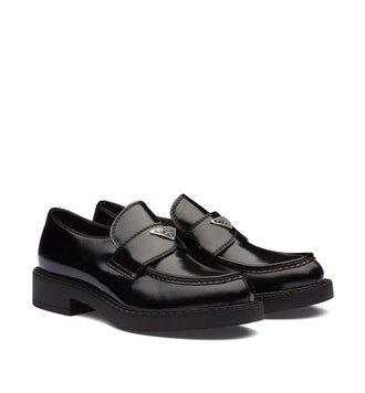 Logo Plaque Chunky Heel Loafers