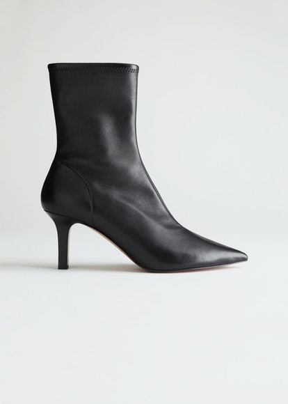 Pointed Leather Sock Boots