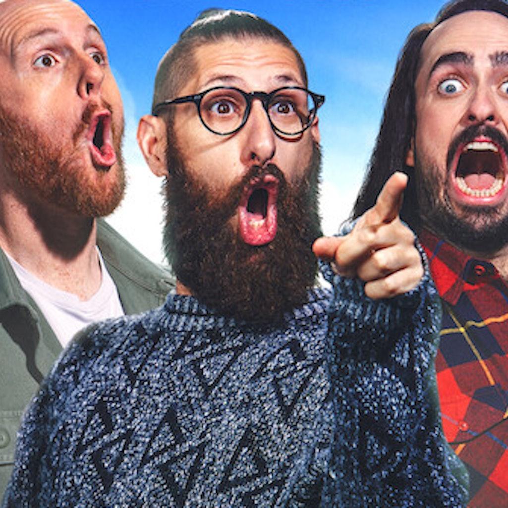 Mark Samual Bonanno, Broden Kelly, and Zachary Ruane in 'Aunty Donna's Big Ol' House of Fun' via the Netflix press site.