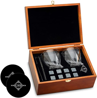 Cool Stones Whiskey Stones and Whiskey Glass Gift Box