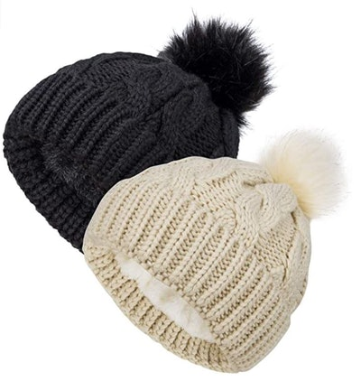 YSense Store Fleece Lined Beanie Hats (2-Pack)