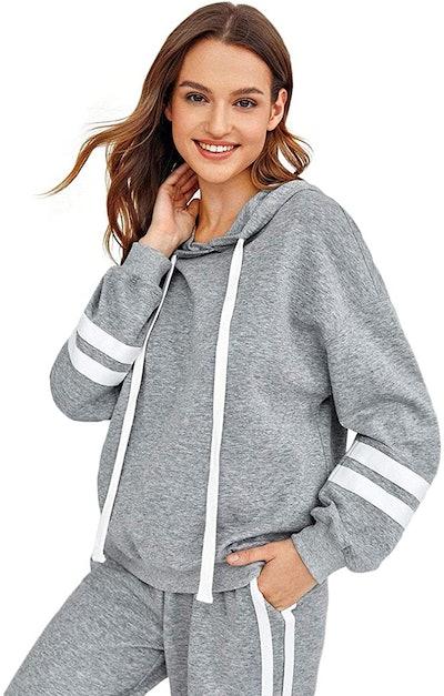 SweatyRocks Sweatshirt Pullover Fleece Striped Hoodie