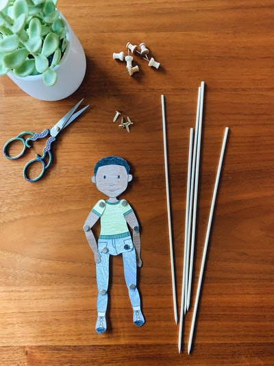 Paperplayandwonder Articulated Paper Doll/Puppet Coloring Page