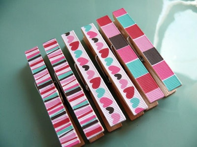 Decorative Decoupage Clothespins Memo Clips