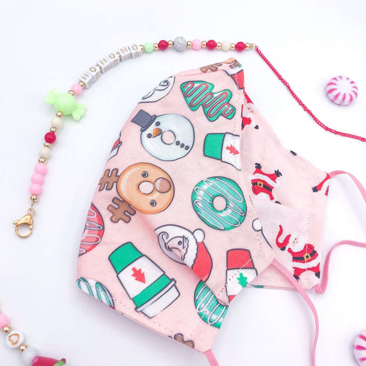 Christmas Holiday Coffee Donuts Santa Fabric Reversible Face Mask w/Adjustable Elastic or Mask Chain